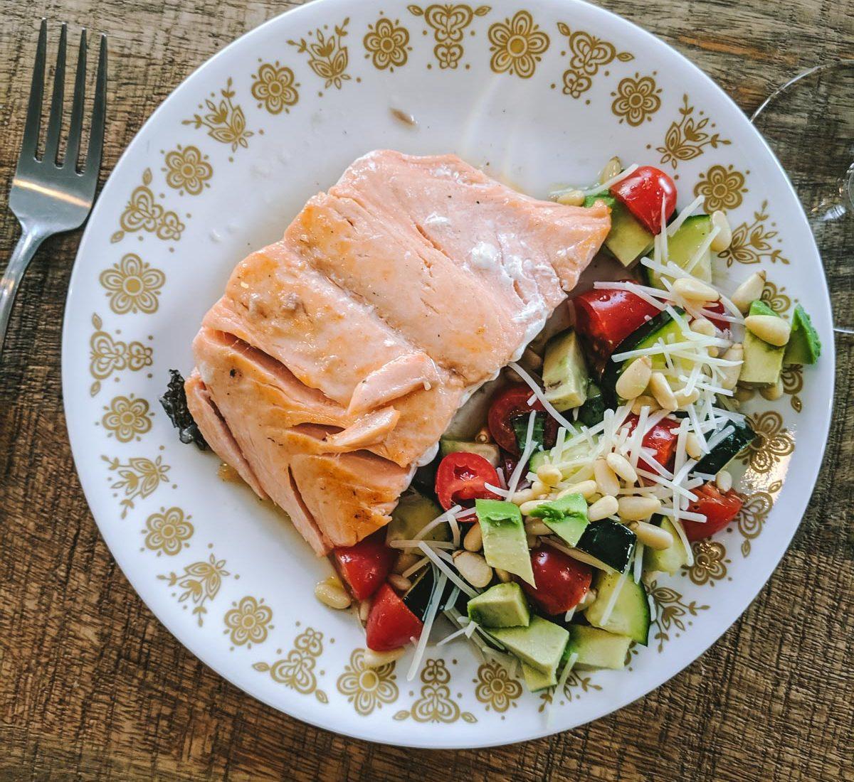 Salmon with summer salad