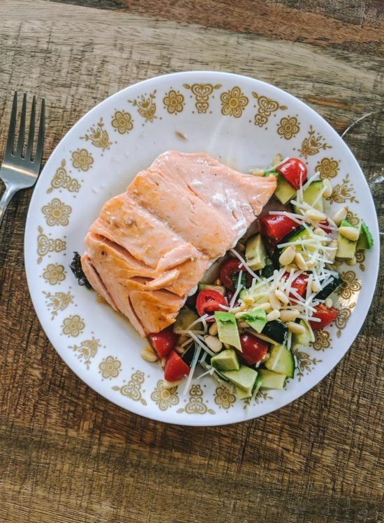 Salmon with summer salad