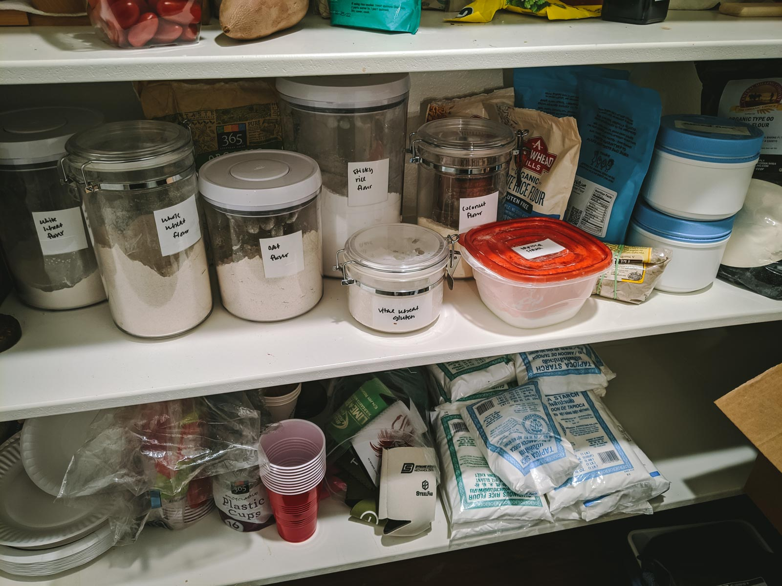 My pantry. I count 15 different types of flour.