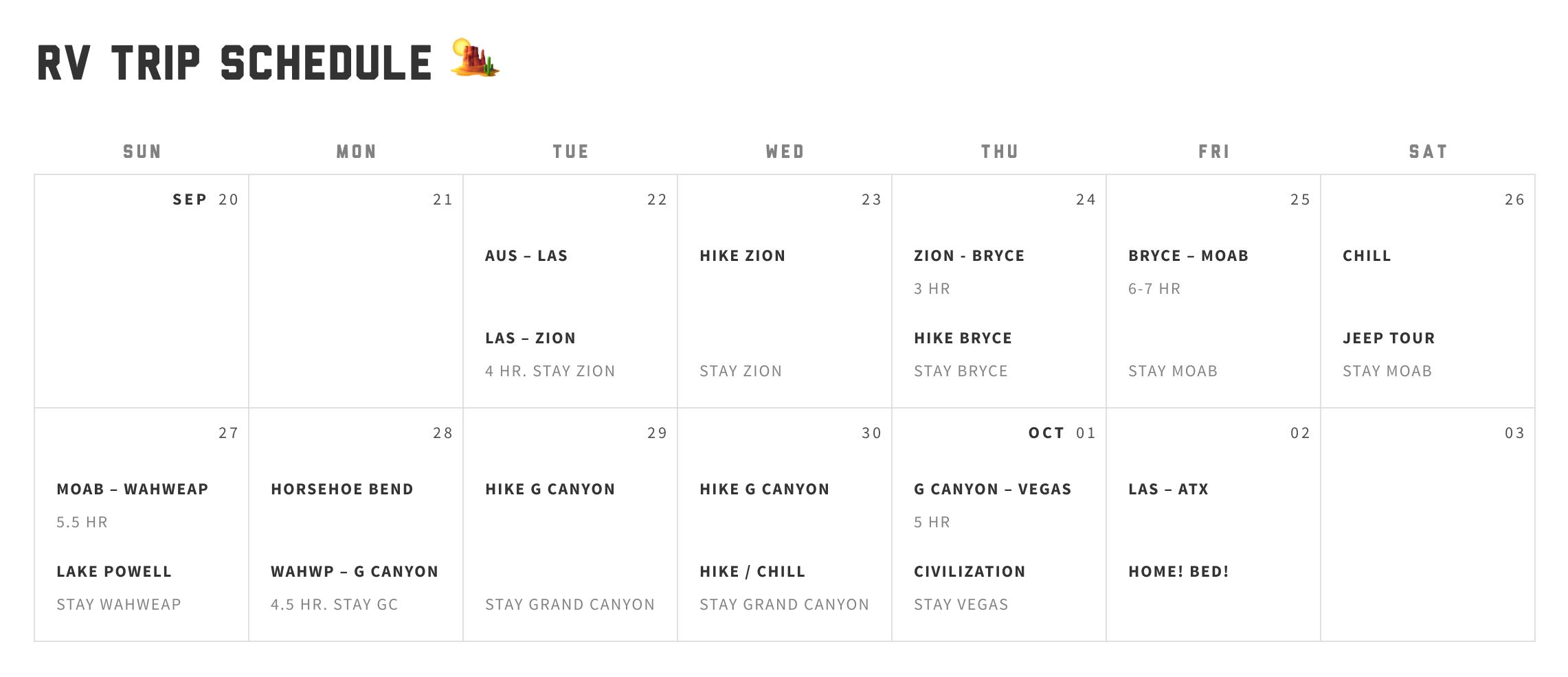 RV Trip Schedule