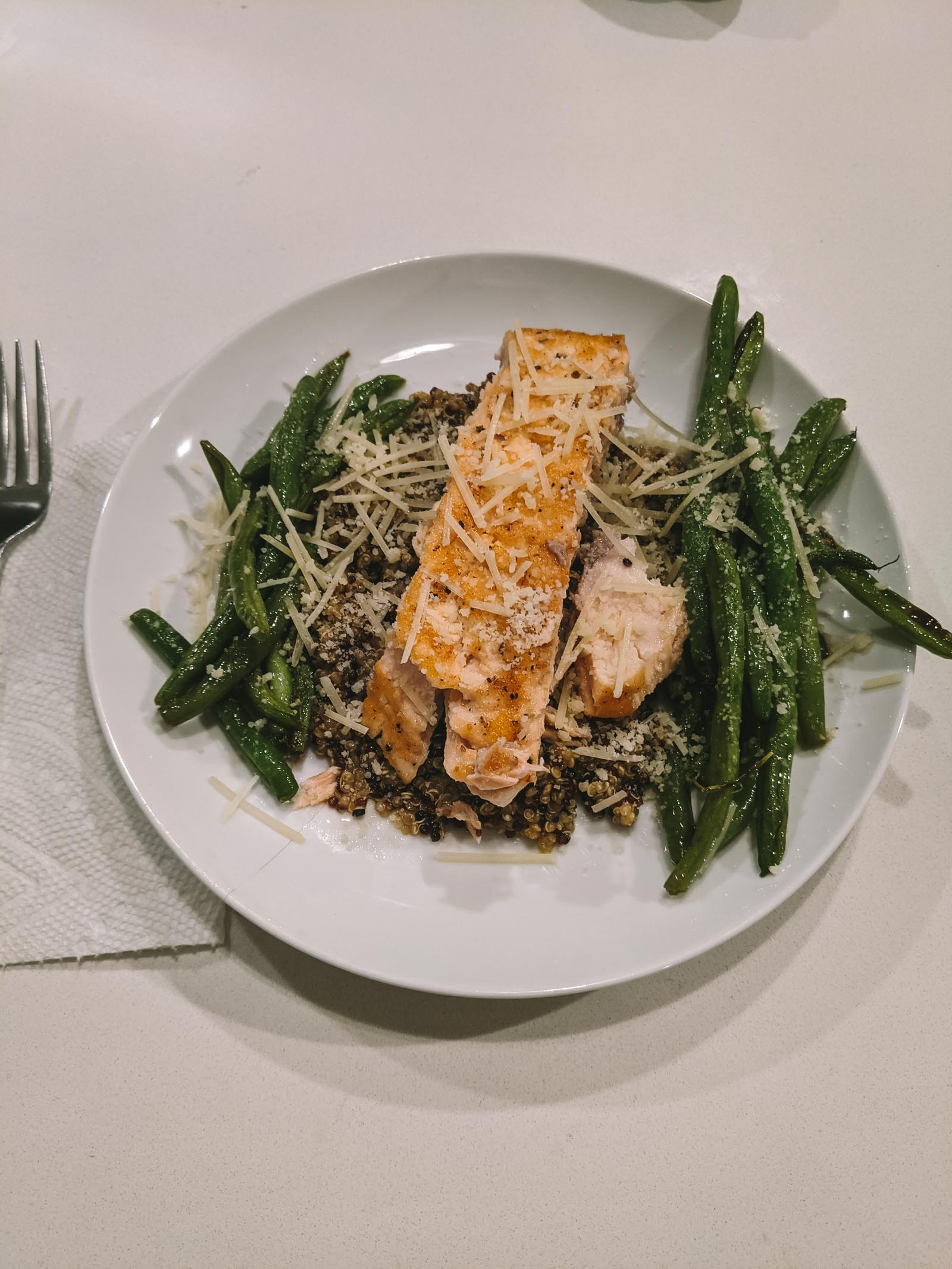 Salmon + rice + green beans + cheese