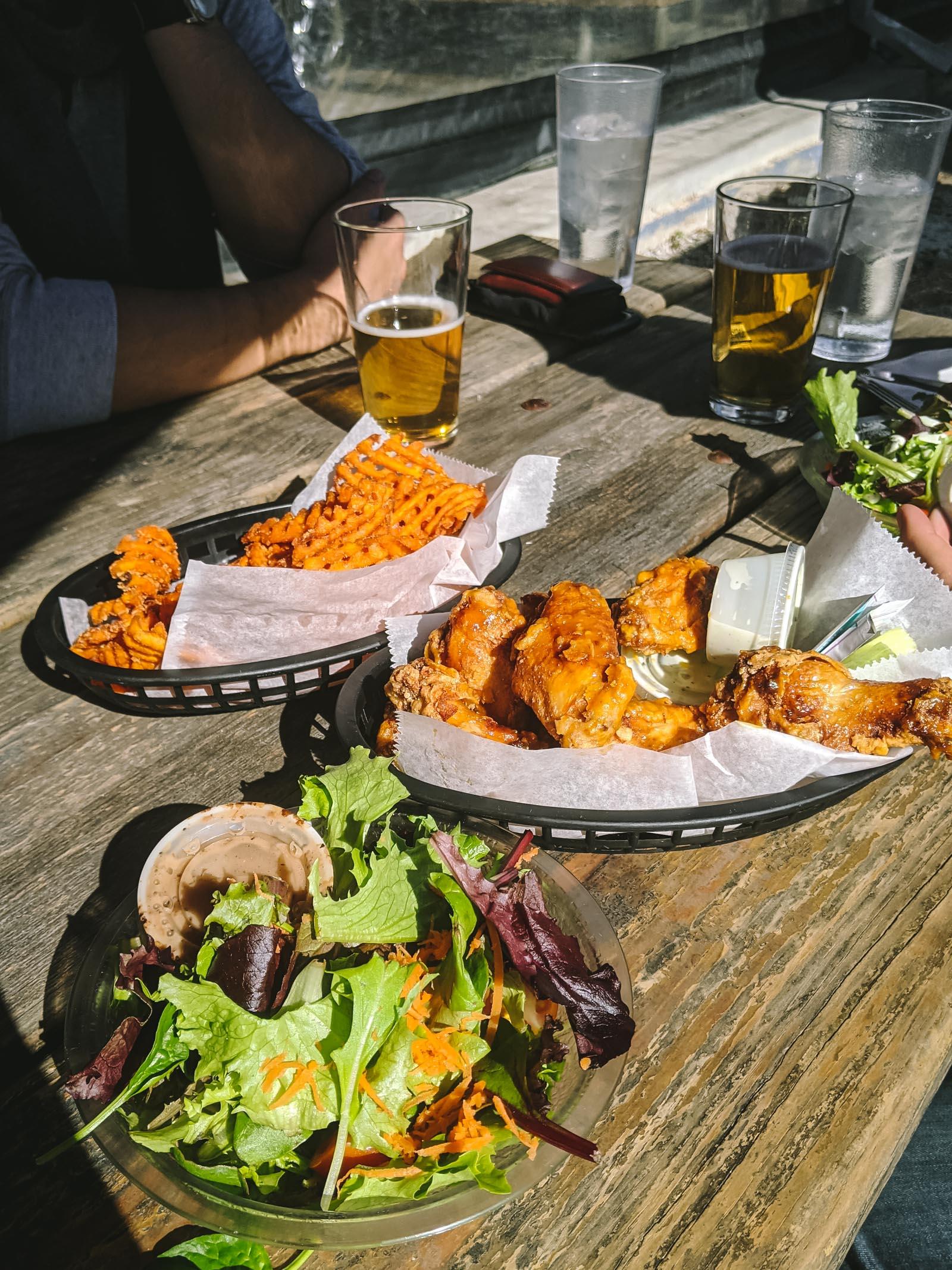 Wings + fries + salad